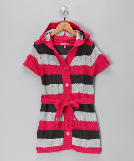 Deep Pink Stripe Cardigan - Girls