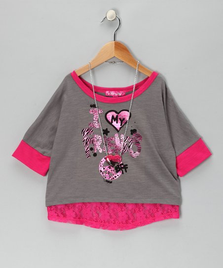 Gray &amp; Pink Lace &#039;My Friends&#039; Top &amp; Necklace - Toddler &amp; Girls