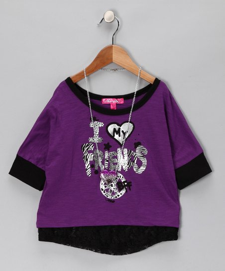 Purple & Black Lace 'My Friends' Top & Necklace - Toddler & Girls