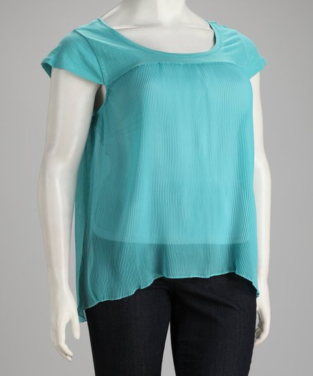 Extra Touch New Mint Sheer Mini-Pleated Plus-Size Top