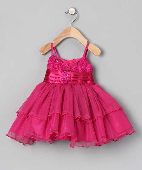 Fuchsia Pin Tuck Sash Dress - Infant