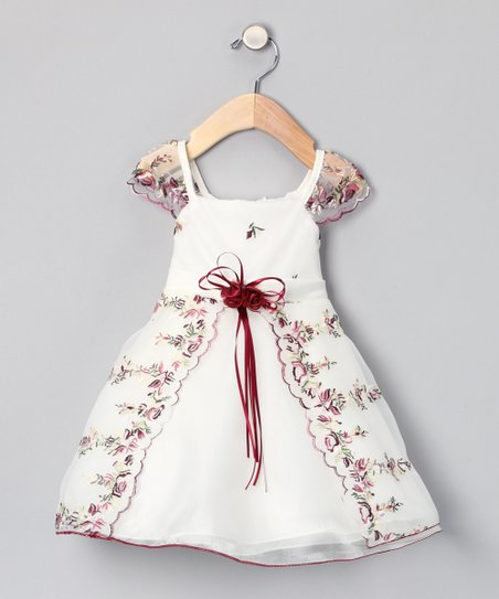 Crimson Floral Angel-Sleeve Dress - Infant