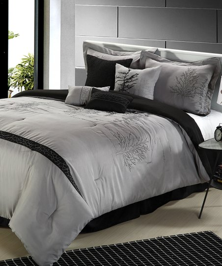 Black & Mauve Katherine Queen Comforter Set
