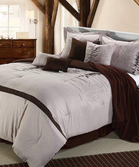 Brown & Mauve Katherine Queen Comforter Set