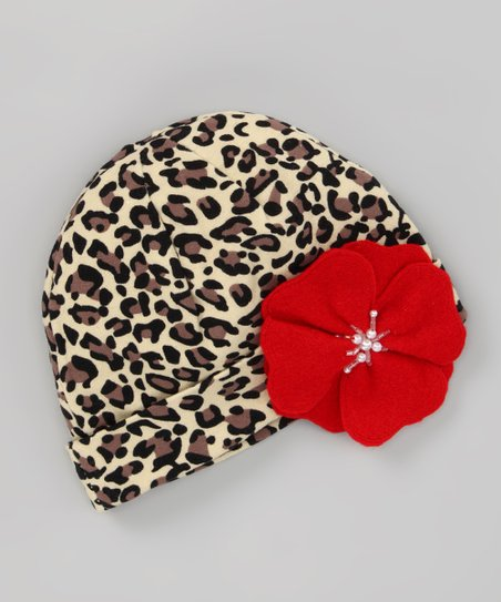 Cheetah Beanie &amp; Red Flower Clip