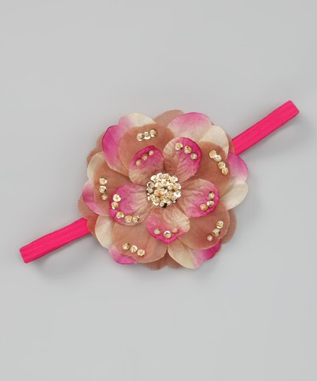 Fuchsia & Brown Dahlia Headband