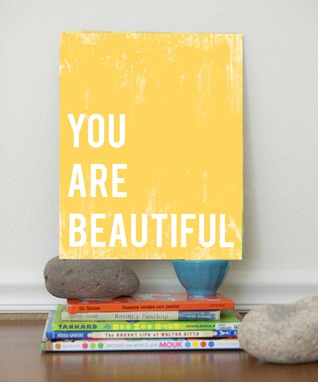 Yellow 'You Are Beautiful' Print