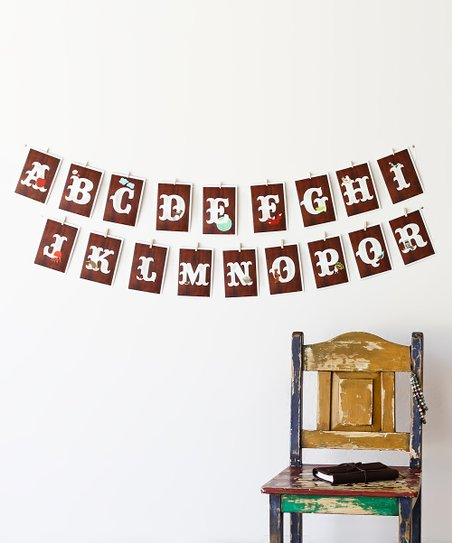 Vintage Wood Alphabet Card Set