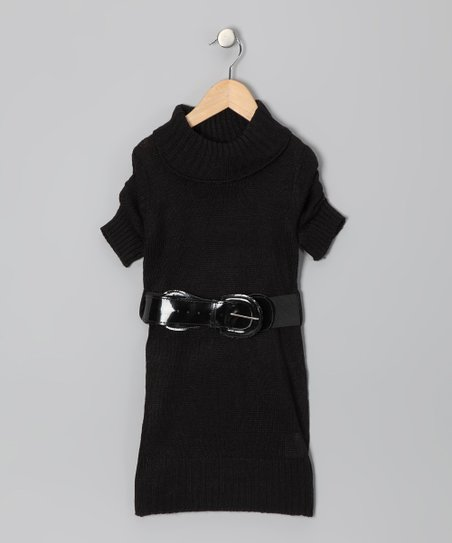 Black Belted Sweater Dress - Toddler &amp; Girls