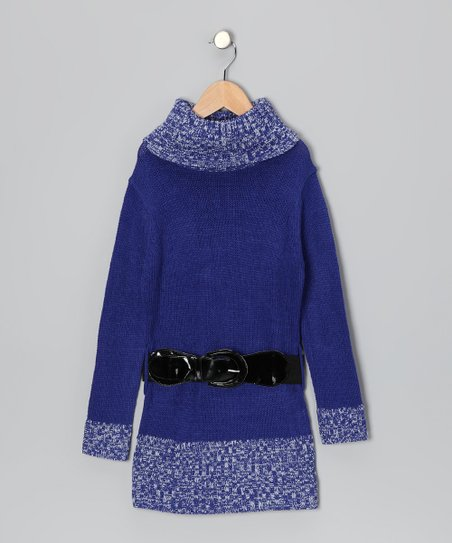 Blue Belted Turtleneck Sweater Dress - Toddler & Girls