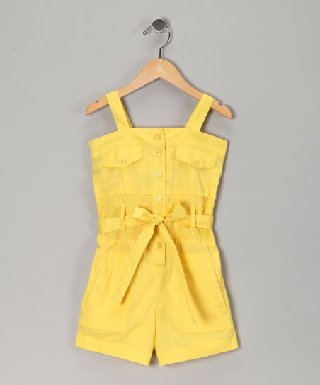 Lemon Light Pocket Romper - Girls