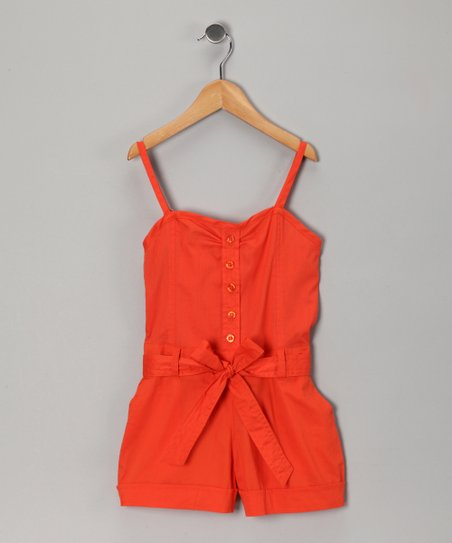 Lava Orange Tie Romper - Toddler & Girls