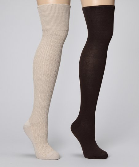 Chinese Laundry Khaki & Brown Over-the-Knee Socks Set - Women