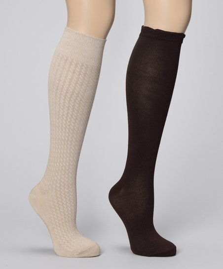 Chinese Laundry Khaki & Brown Knee-High Socks Set - Women