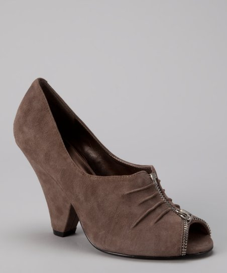 Slate Gray Coderie Zipper Peep-Toe Bootie