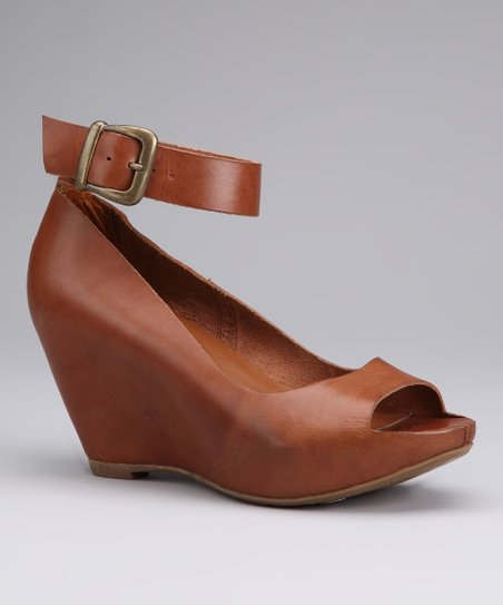 Tan Sneek Peek Ankle-Strap Peep-Toe Wedge