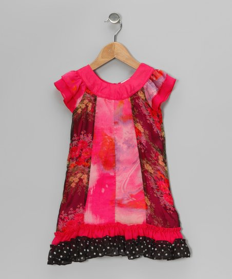 Hot Pink & Black Floral Chiffon Dress - Toddler