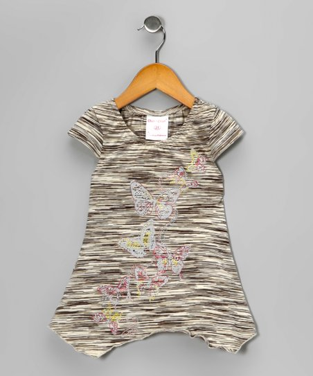 Charcoal Butterfly Sidetail Tunic - Toddler & Girls