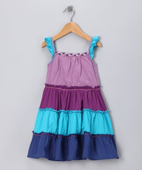 Purple & Blue Ruffle Dress - Infant, Toddler & Girls