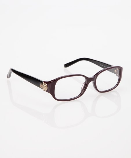 Plum & Black Thick Frame Rectangle Eyeglasses