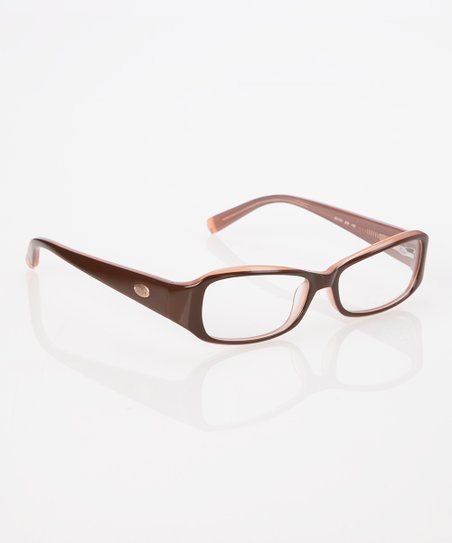 Chocolate & Wild Rose Thick Frame Angled Rectangle Eyeglasses