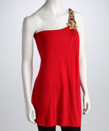 Red Asymmetrical Tunic