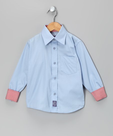 Blue Oxford Woven Button-Up - Toddler &amp; Boys