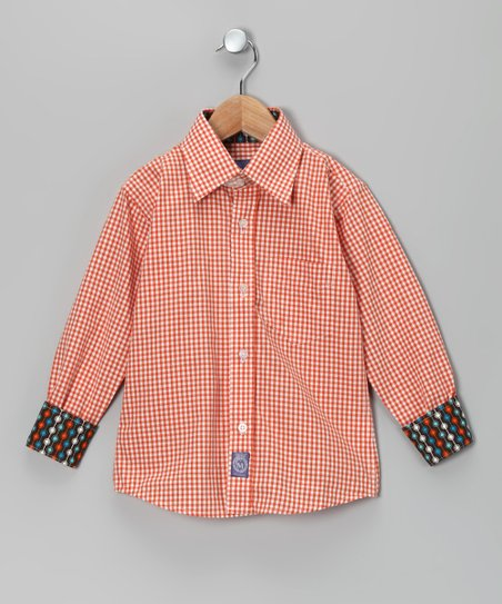 Orange & White Gingham Woven Button-Up - Infant, Toddler & Boys