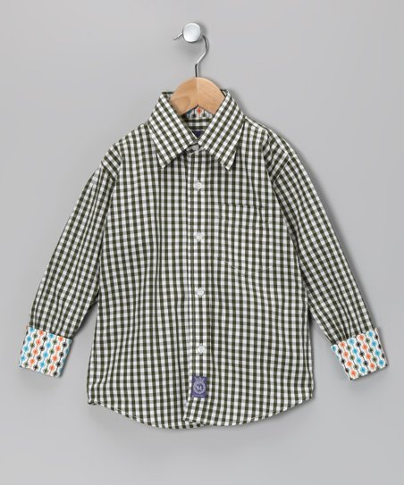 Green Gingham Woven Button-Up - Toddler & Boys