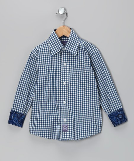 Blue & White Gingham Woven Button-Up - Toddler