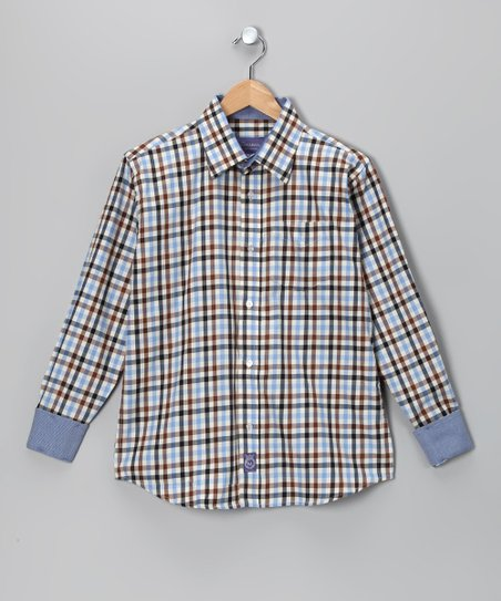 Light Blue &amp; Brown Plaid Woven Button-Up - Infant &amp; Boys