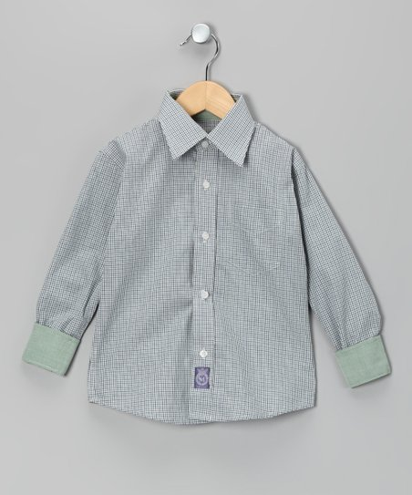 Green &amp; Purple Plaid Woven Button-Up - Toddler &amp; Boys
