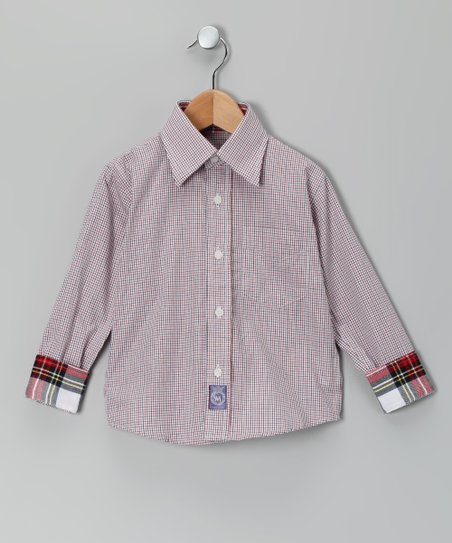 Red & Navy Plaid Woven Button-Up - Infant & Boys