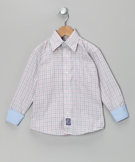 Orange & Light Blue Plaid Woven Button-Up - Toddler & Boys