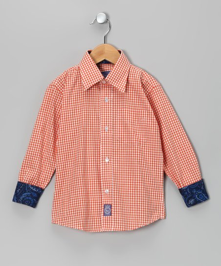 Orange & White Paisley Woven Button-Up - Toddler & Boys