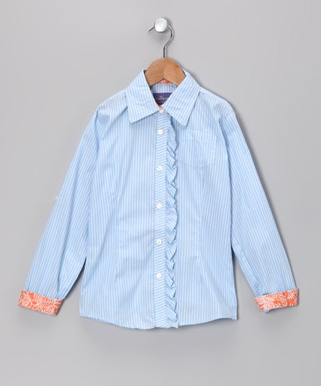 Light Blue Gretta Ruffle Button-Up - Toddler &amp; Girls