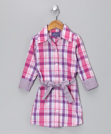 Purple Plaid Juliette Shirt Dress - Toddler & Girls