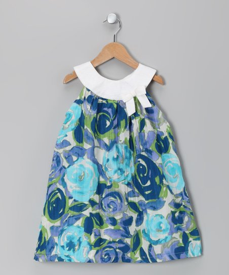 Light Blue Floral Mirabella Dress - Toddler & Girls
