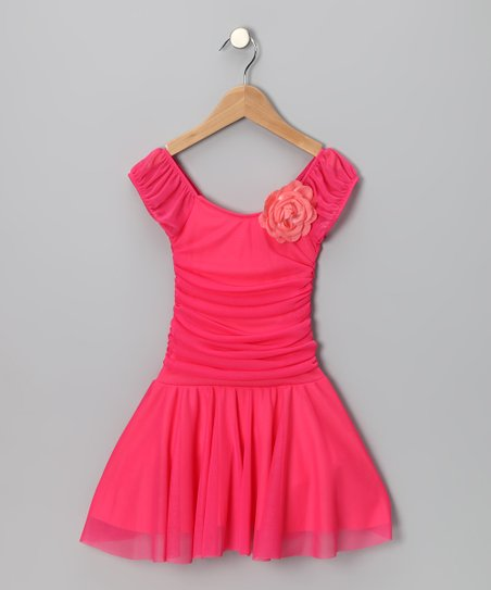 Coral Ruched Cap-Sleeve Dress - Toddler & Girls
