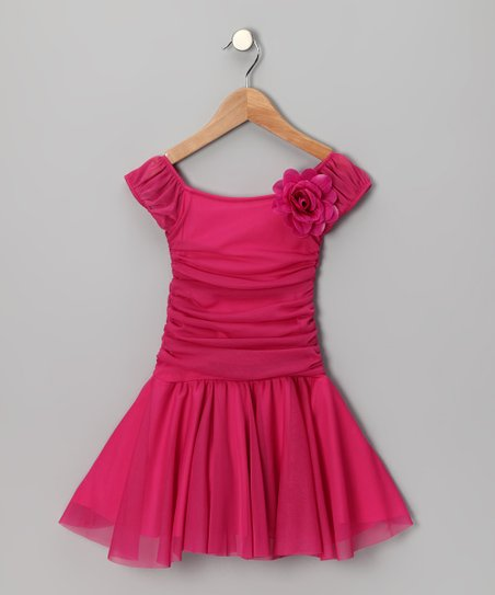 Fuchsia Ruched Cap-Sleeve Dress - Girls