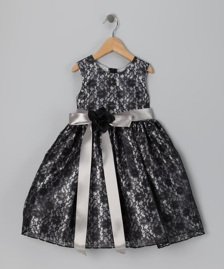 Black & Silver Floral Dress - Infant, Toddler & Girls