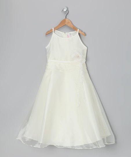 Ivory Satin A-Line Dress - Girls