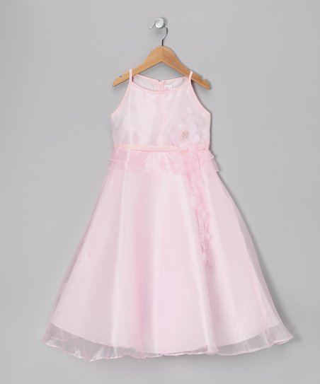 Pink Satin A-Line Dress - Girls