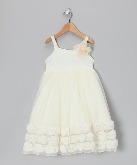 Off-White Rosette Babydoll Dress - Infant, Toddler & Girls