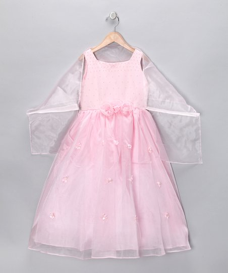 Pink Rosette Dress & Shawl - Girls