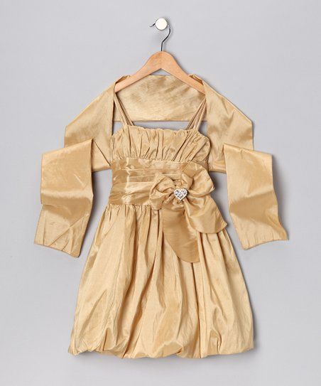 Gold Bow Bubble Dress & Shawl - Toddler & Girls
