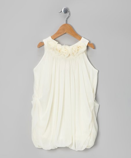 Ivory Rosette Bubble Dress - Girls