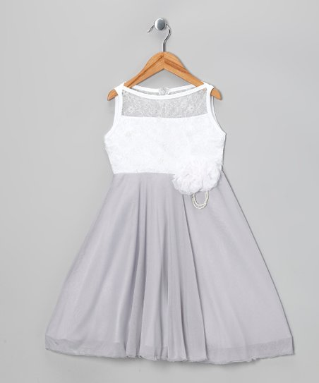 Silver & White A-Line Dress - Toddler & Girls