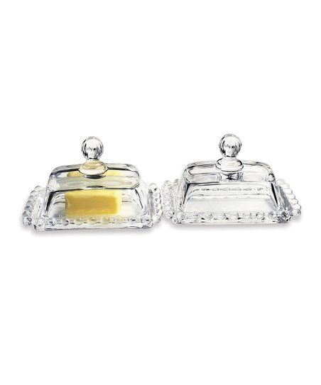 Circle Glass Catalina Butter Dish - Set of Two
