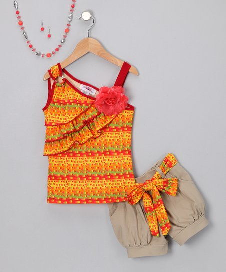 Red & Yellow Khaki Shorts Set - Toddler & Girls - Toddler & Girls